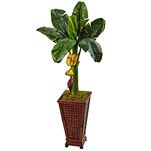 Nearly Natural 5959 3.5' Banana Artificial Tree in Wooden Planter, Green