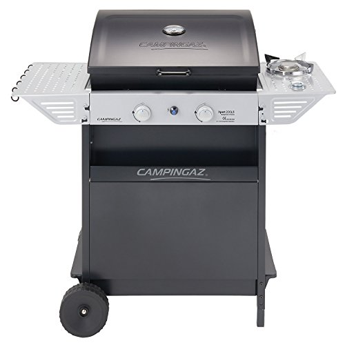 Campingaz Gas BBQ Xpert 200 LS, Compact 2+1 Burner Gas Barbecue Grill, 2 Stamped Steel Grids, Side Table and Steel BBQ Trolley Contact Grills