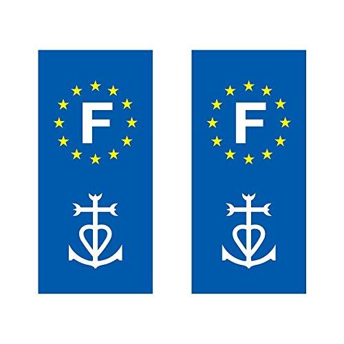 Lot de 2 sticker plaque immatriculation voiture logo régionaux Croix de Camargue