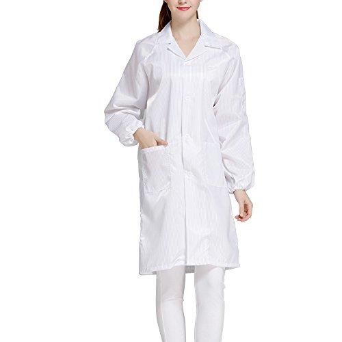 Calunce Button Up Lapel CollarESD/Anti Static Overalls Coat Lab Coat (3XL, white)