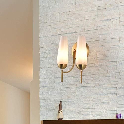 ZANYUYU Lámpara de pared de cobre de doble cabeza estilo rústico americano para sala de estar, comedor, dormitorio, pasillo, TV, pared moderna minimalista (32 x 25 cm) Descubre la luz