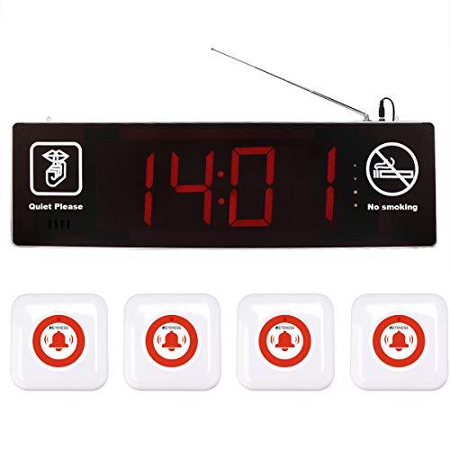 Retekess TD123-TD002 Caregive Pager Noodalarm Noodoproepknop Schwesterhor-alarmsysteem voor oudere patiënten (1 ontvanger display en 4 zendertoetsen), 1 Empfängerbildschirm und 4 Sendertaste, zilver
