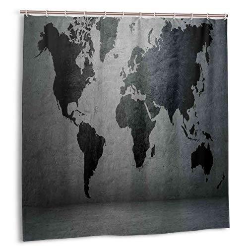 Dfform Cortina de Ducha,Mapa del Mundo de Color Negro en la Imagen de Muro de hormigón Estructura Urbana Aspecto áspero Sucio,Impermeable y Opaco con 12 Ganchos