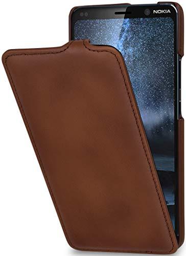 StilGut UltraSlim kompatibel mit Nokia 9 PureView Hülle aus Leder - Nokia 9 PureView Flip Hülle, Klapphülle, Handyhülle, Lederhülle - Braun Antik