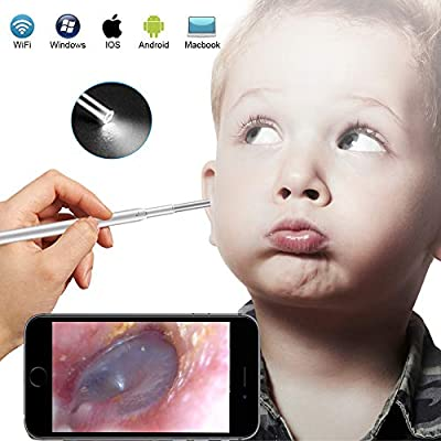 Otoscope iPhone - USB Otoscope Ear Speculum HD Camera, Ear Wax Remover with 14 Reuseable Ear Scope - 6 Adjustable Digital Flashlights Video Ear Cleaning Kit for Adult Children Pets