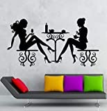 V-studios Wall Stickers Cafe Restaurant Women Silhouette Lunch Table Vinyl Decal VS2421