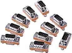 DB9 Null Modem Adapter Male to Female Slimline Data Transfer Serial Port Adapter 10 Pack