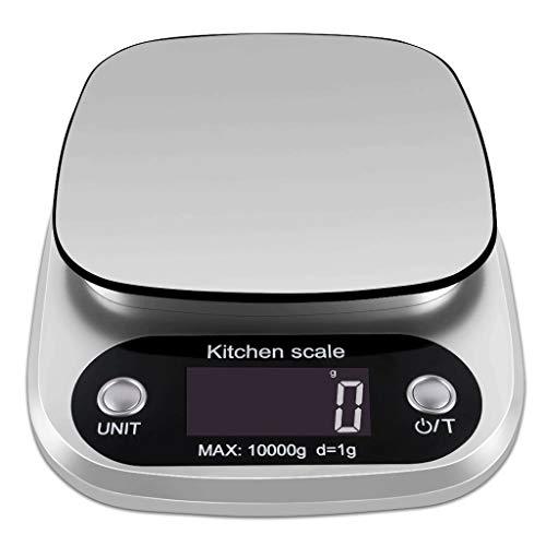 YZSHOUSE Oksmsa Báscula Digital Pantalla LCD Cocina Alta Precisión Función Tara Acero Inoxidable Fruta Vegetal Peso Máximo 10kg