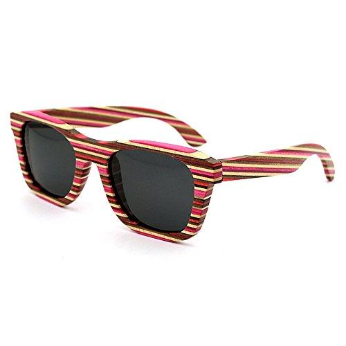 Sunglass Fashion Gafas de Sol de Madera artesanales de Colores Naturales para Mujeres con Lentes polarizadas y protección UV (Color : Gris)