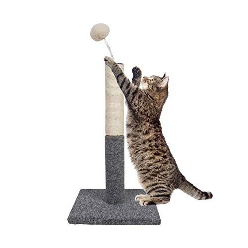 Dimaka Cat Scratching Carpet Post with Top Tease Toy Ball, Sisal Pole Post and Carpet Covered Base, Vertical Scratch Full Stretch (Grey)