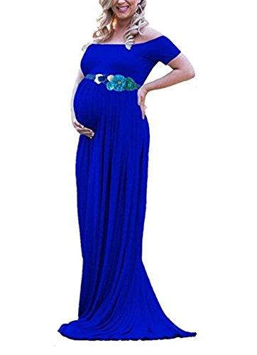 Vestito da donna con altoparlante e spalle scoperte, con maniche corte, colore fresco blu royal L