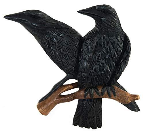 Windalf asatru Pared decoración Hugin y Munin H: 27cm Madera de Odín rabenbrüder Mano de Madera