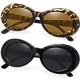 Joopin Polarized Sunglasses for Women Men, Retro Clout Sun Glasses with Oval Thick Frame (Black+Tea Tortoise)
