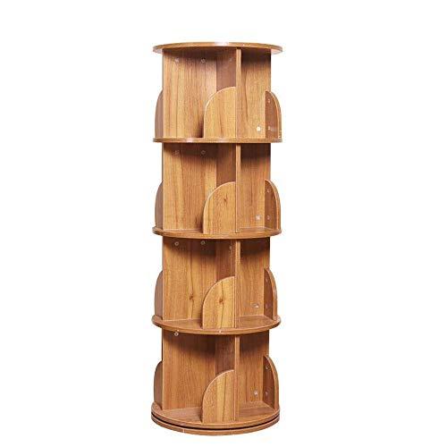 XYZX Planken Boekenplank Rond Roterende Boekenplank 4-laags Effen Houten Frame Planken kubussen Teak Color
