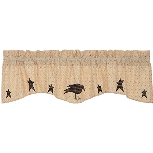 VHC Brands Kettle Grove Applique Crow and Star Valance 16x60 Country Curtain, Creme
