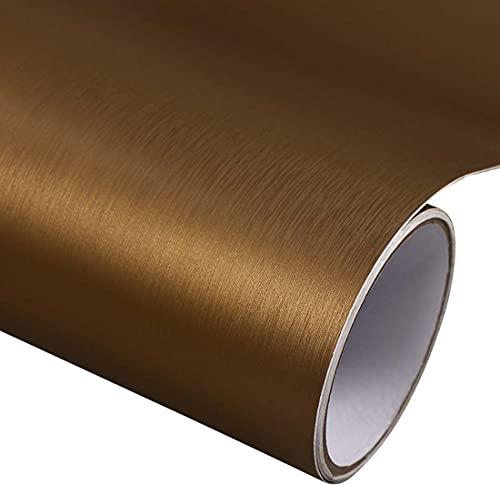 Papel de contacto de acero inoxidable con aspecto dorado de titanio autoadhesivo para estantes, papel pintado impermeable para aparatos de cocina, frigorífico, lavadora de 45 x 38 cm