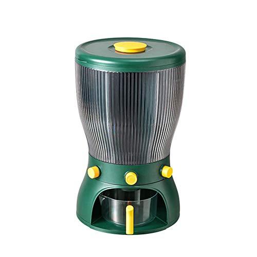 Dispensador De Alimentos Cubo De Arroz Giratorio Tanque De Almacenamiento De Cocina A Prueba De Humedad Caja Granos A Prueba De Insectos Organizador De Granos 10 Kg Gran Capacidad-Verde