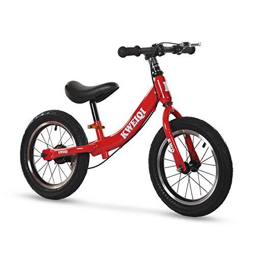 Laufrad für Kinder 2-6 Jahre, 14 Zoll Balance Fahrrad fürs Gleichgewicht mit höhenverstellbarem Sattel und Lenker, Lernlaufrad mit Handbremse, Max 70 kg,Rot