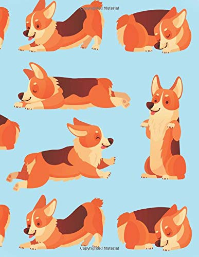 Corgi Notebook: Cute Blue Corgi Lined Notebook for Dog Lovers Wide Ruled Journal Notepad Diary with Corgis Playing and Sleeping - Christmas Present, ... Boys Teens Kids Women (120 Pages 8.5 x 11)