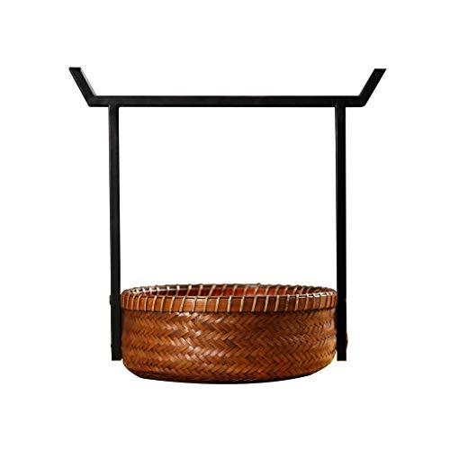 Vintage Bambus Picknickkörbe chinesischen Eisen Griff Körbe tragbare Lunchboxen Einkaufen Lagerung Geschenkkörbe Aufbewahrungsboxen & Truhen (Farbe: braun, Größe: 8,07 * 11,22 Zoll)