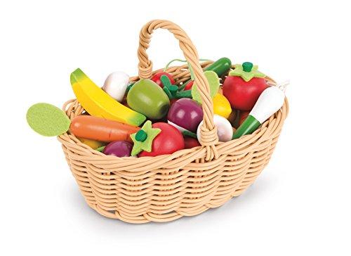 Janod J05620 Korb mit 24 Früchten und Gemüse aus Holz, Koch-Fantasiespielzeug, für Kinder ab 3 Jahren