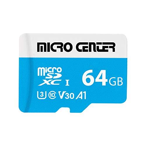Micro Center Premium 64GB microSDXC Card UHS-I Flash Memory Card C10 U3 V30 4K UHD Video A1 Micro SD Card with Adapter (64GB)