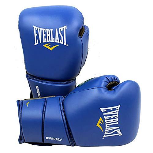 ERHUAN Guantes De Boxeo MMA Profesionales Unisex Muay Thai Kicking Boxing Saco De Arena Gimnasio Fitness Entrenamiento De Combate Equipo De Boxeo Guantes De Boxeo,Protex2 Azul,16 Onzas