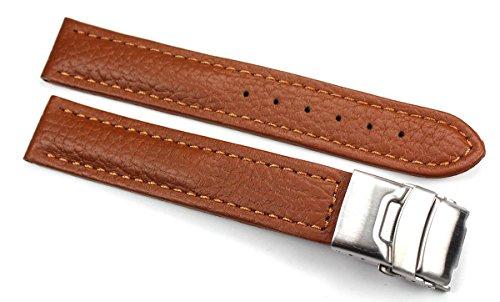 Cinturino in pelle con fibbia pieghevole in acciaio inox 18 mm, colore marrone