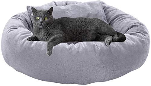 Lujo Mascotas mascotas cama perro gato cama redondo sofá cuddler perrera con almohada cálida peluche donut suave cachorro cojín saco de dormir antideslizante fondo lavable cómodo para dormir invierno