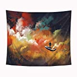 Riyidecor Man On a Boat Tapestry 59Wx51L Inch Cloud Tapestry Yellow and Red Nebula Colorful Tapestry Beauty Dreamy Abstract Psychedelic Wall Hanging Indigenous Bedroom Living Room