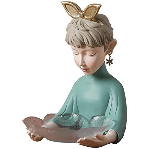 WYFDC Bandeja de cristal para niña, decoración creativa, para sala de estar, para guardar llaves, frutas, decoración del hogar, escultura (color verde)