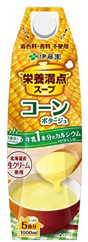 伊藤園 栄養満点スープ コーンポタージュ キャップ付 紙パック 1L ×6本 ×6本