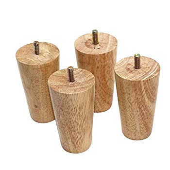 Btibpse 4  Tall Oak Furniture Legs Sofa Parts Wood Replacement Sofa Couch Chair Ottoman Loveseat Coffee Table Cabinet Feet Set of 4