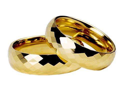 Par Alianças Banhada Ouro18k 6mm 3D Tungstênio Tamanho:6mm;Cor:Dourado