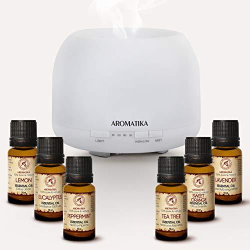 Aromaterapia Aceites Set - Difusor Eléctrico con 6x10ml Botellas de Aceite Esencial - Naranja - Lavanda - Limón - Menta - Té - Aceites de Eucalipto - Humidificador Ultrasónica - Difusor de Aroma
