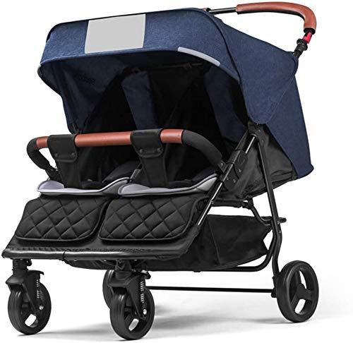 Yuzhonghua Blaues Licht Zwillingswagen, Hosenträgergurtsystemen Deck können Vier Stoßdämpfern Neugeborene Zwillingssportkinderwagen Platz