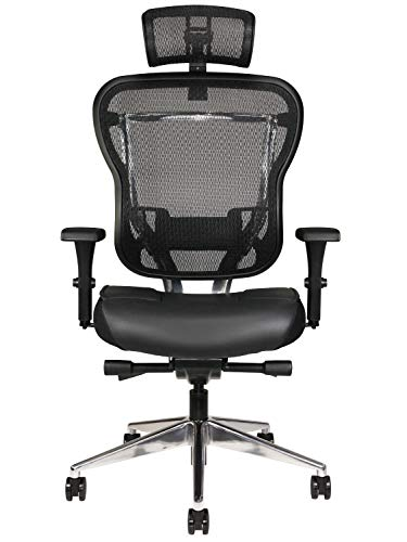 Oak Hollow Furniture Aloria Series Office Chair Ergonomic Executive Computer Chair with Headrest, Genuine Leather Seat Cushion, Mesh Back, Adjustable...