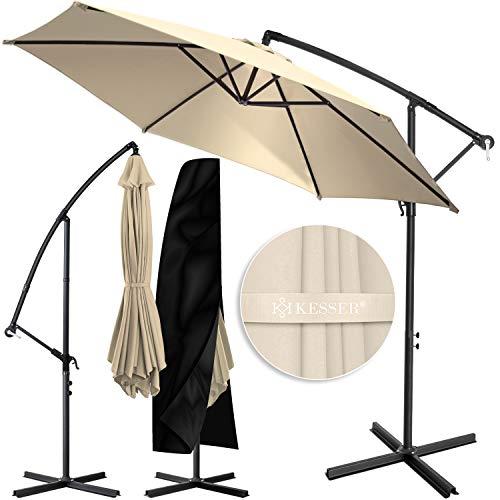 KESSER® Alu Ampelschirm Sonnenschirm Ø 300 cm mit Kurbelvorrichtung UV-Schutz Aluminium Wasserabweisende Bespannung - Schirm Gartenschirm Marktschirm Beige