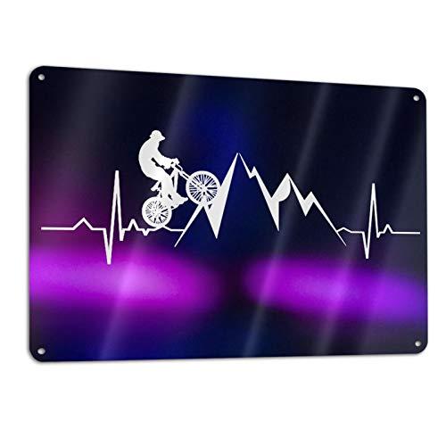 ASDAD Mountain Bike Heartbeat Funny Sarcastic Metal Tin Sign Wall Retro Kitchen Bar Pub Coffee Shop Decor 11.8'x 7.9' Metal Plate Sign