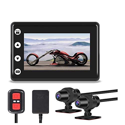VSYSTO Motocicleta Dash CAM Cámara de la Motocicleta Lente Dual 1080P Cámara Delantera y Trasera Pantalla LCD de 3.0 \'\' 140 ° Gran Angular Cámara Deportiva a Prueba de Agua GPS WiFi