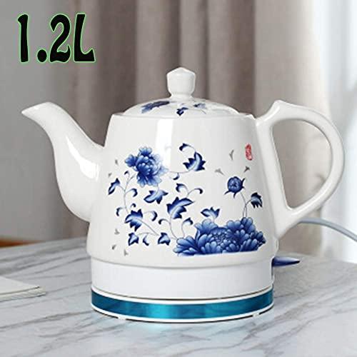 Hervidor eléctrico de seguridad, hervidor eléctrico de cerámica inalámbrico azul y blanco de porcelana, tetera, jarra de 1,2 l, hierve agua rápidamente para té, café, sopa, avena, 1000 W, A (Color: B)