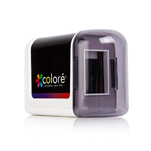 Colore Electric Pencil Sharpener - Powerful, Small, Battery Operated Heavy Duty, Safe Sharpeners for Kids, School, Office
