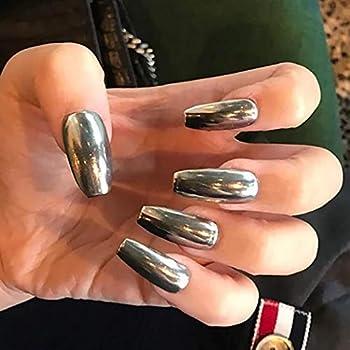 Yikisdy Mirror Ballerina Coffin False Nails Metallic Silver Long Full Cover Press on Nail Acrylic Fake Nails Art Tips for Women and Girls 24PCS