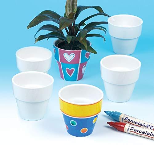 Baker Ross EK162 Mini Porcelain Flowerpots (Pack Of 6) For Kids To Decorate