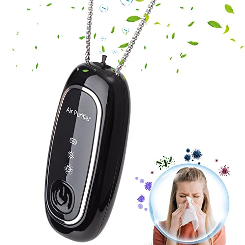 Portable Air Purifiers Necklace, Mini Rechargeable Negative Ion Generator for Indoor, Outdoor Travel, Relieve Allergies, Remove Smoke, Pollens, Dust
