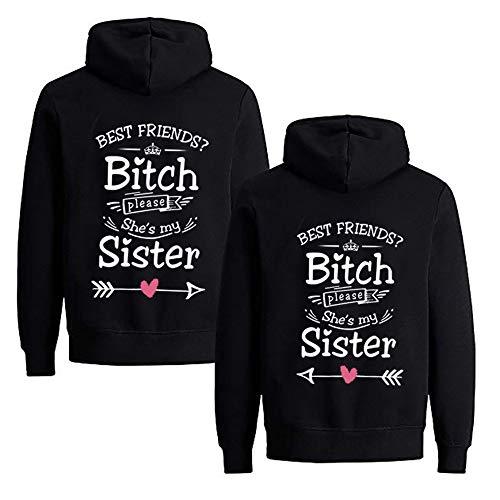 1 Stück Sister Pullover für Zwei Mädchen Beste Freunde Pullover Sister Hoodies BFF Hoodie für Best Friends Kapuzenpullover Damen Pulli Freundin Geschenke (S,Schwarz -Left)