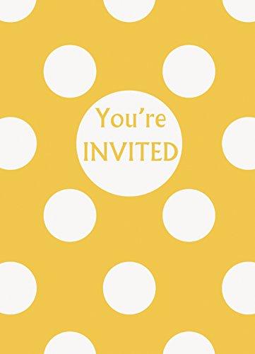 Unique Party 37512 Party-Einladungen, gepunktet, Gelb, 8 Stück