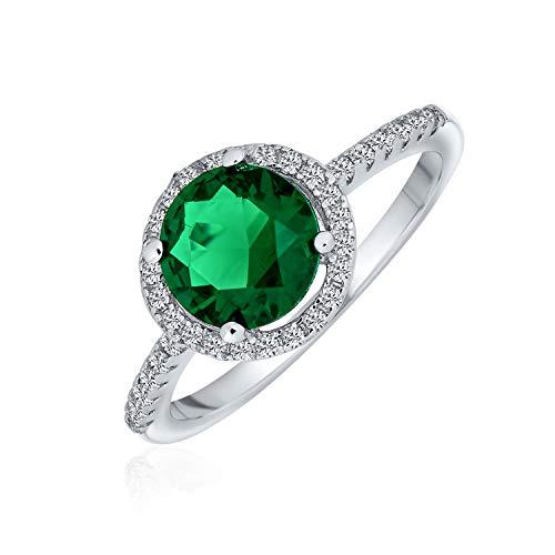 Bling Jewelry 3Ct Zirconio Cúbico CZ Allanar Ronda Solitario Halo Verde Esmeralda Simuladas Anillo De Compromiso para Mujer 925