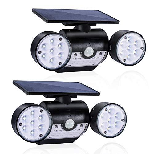 Luce Solare Esterno (2 pezzi), GIANTARM 30 LED Lampada Solare con Sensore di Movimento, Impermeabile Lampade da parete Solare, Illuminazione solare Testa a Doppia Lampada Rotante a 360 ° …