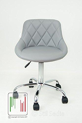 Stil Sedie - Poltrona Sedia Cameretta da lavoro Girevole Modello GAIA Sedia da ufficio con sedile in eco pelle trapuntata e base in metallo cromato con ruote colore grigio